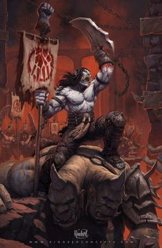 Kargath Bladefist leads an army of sadists simply by being the most hate-filled orc to ever attach a scythe to the stump of his severed wrist. Initiates of Kargath's clan, the Shattered Hand, emulate their chieftain's vicious body modification, but it's only the first of many opportunities for new scars, both on their own bodies and in the sculpting clay of their foes' flesh.I must mention the most talented Alex Horley. I was very inspired by the piece he did for Blizzcon 2013…