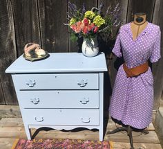 """Neverbird Antiques. Blue bureau for sale. Hand-stamped inscription- """"So comfortable in her own skin, that she moves like the wind itself.""""  -Brian Andreas"""