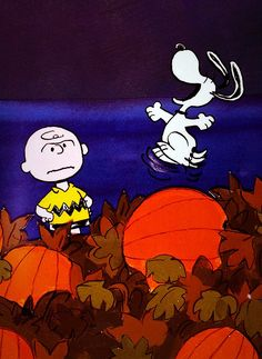"""It's the Great Pumpkin, Charlie Brown,"" a classic Halloween special in which the spirit of Halloween bewitches each of Charles M. Schulz's ""Peanuts"" characters (including the pictured Charlie Brown and Snoopy) in a different way. Snoopy Halloween, Charlie Brown Halloween, Great Pumpkin Charlie Brown, It's The Great Pumpkin, Halloween Movies, Halloween Horror, Halloween Art, Vintage Halloween, Happy Halloween"