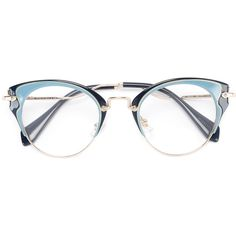 Miu Miu Eyewear cat eye glasses ($351) ❤ liked on Polyvore featuring accessories, eyewear, eyeglasses, blue, cat eyewear, cat-eye glasses, blue glasses, blue eyeglasses and cat eyeglasses