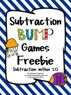 FREEBIE - Subtraction Bump Games from Games 4 Learning - printable subtraction Math Strategies, Math Resources, Subtraction Games, Math School, Math Stations, Math Centers, Math Intervention, Math Addition, Second Grade Math
