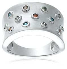 ($85.99 - $89.00) Sterling Silver 1/4 cttw Multi-Color Diamond Ring   From Amazon.com Collection