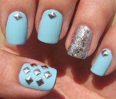 3mm Silver Square Metal Alloy Stud Studs Nail Art Decorations USA #blue #silver #glitter