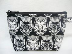 Black in white Owls make up bag     Ready To Ship by sewtrendyrose, $5.00