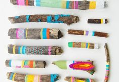 DIY painted twigs/yarn wrapped sticks