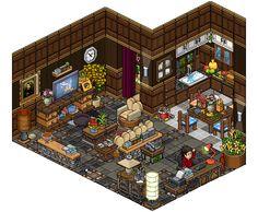 Captivating and Bibliotheek - Living room design by Cutiezor Isometric Drawing, Isometric Design, Landscape Concept, Fantasy Landscape, Habbo Hotel, Minecraft Room, Pix Art, Pixel Animation, Hotel Room Design