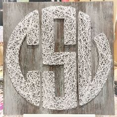 """12""""x12"""" block monogram string art is the perfect addition to any dorm room, bedroom, or wall collage. You choose your string color to match your decor! Excellent gift or treat for yourself. Please all"""