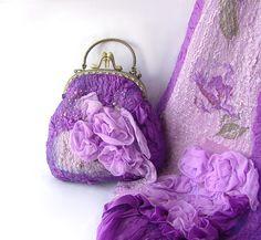 Nuno felted purse - Purple roses by GalaFilc