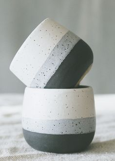 Maggie Boyd Ceramics - Small Tumbler in Tri-Stripe Black, Blue, White
