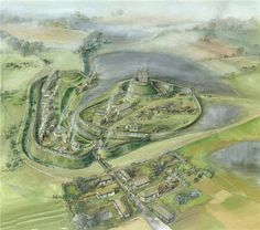 1086 AD - Skipsea Castle (motte & bailey). This is a reconstruction drawing of Skipsea castle. It is a well-preserved motte and bailey castle. It was built at some time between 1071 and 1086. It is located south of Bridlington, East Riding of Yorkshire, England, on the B1249 road.