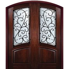 Wood doors with decorative wrought iron grilles make an impressive and beautiful addition to any homes exterior design. All wood doors with wrought iron are hand crafted from heavy iron metal which provides sophisticated and artful statement. Brown Front Doors, Double Entry Doors, Front Entry, Exterior Doors With Glass, Wood Exterior Door, Tuscan Design, Tuscan House, Mediterranean Home Decor, Front Door Design