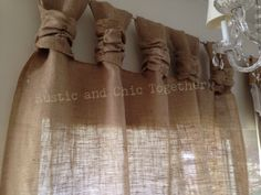 Burlap Drop cloth Wide ruched tabs curtains by RusticChicTogether Ruffle Curtains, No Sew Curtains, Gold Curtains, Drop Cloth Curtains, Burlap Curtains, Curtains Living, Rod Pocket Curtains, Bathroom Curtains, French Curtains