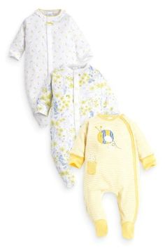 Next Three Pack Yellow Bee And Pretty Floral Sleepsuits (0mths-2yrs)