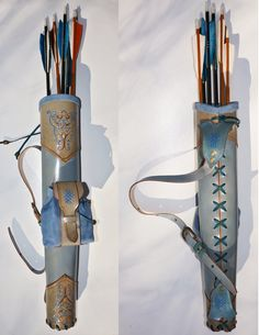 Archery Leather Set Tooled Back Quiver Arm Guard by MadeOfLeather