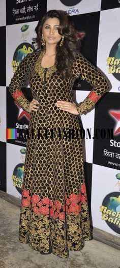 http://www.kalkifashion.com/ Daisy Shah in floor length anarkali suit by Mayyur Girrotra on the set of Nach Baliye to promote her upcoming movie Jai Ho