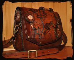 leather shoulder bag  pirate steampunk by Lagueuse.deviantart.com