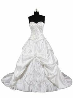 Cocomelody Pick Up Sweetheart Chapel Train Satin Wedding Dress Hs5024