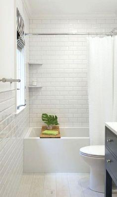 Subway tile bathroom ideas white bathroom subway tile inspiration of white subway tile bathroom and best White Beveled Subway Tile, White Subway Tile Bathroom, White Tile Bathrooms, All White Bathroom, Subway Tile Showers, Small Bathrooms, Beautiful Bathrooms, Bathroom Tile Designs, Bathroom Floor Tiles