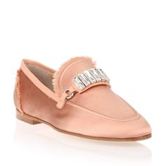 Giuseppe Zanotti Salmon Satin Loafer (740 CHF) ❤ liked on Polyvore featuring shoes, loafers, pink, small heel shoes, low heel shoes, loafers moccasins, pink satin shoes and giuseppe zanotti