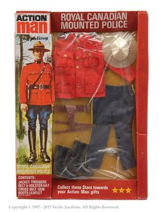 Palitoy Action Man Carded Royal Canadian Mounted Police Set No. Wednesday 27th May 2015 10:30am Lot 5176 Palitoy Action Man carded Royal Canadian Mounted Police set No. 64150. The item has never been removed from the card. Four punch holes to the cellophane. The card has one tear to the top and another to the bottom. Condition is Near Mint on Good card. Estimate: £200 - £300 Sold for: £850