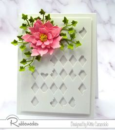 This gorgeous pink summer rose is so lush and lovely it can stand alone on this handmade card. Add any greeting and it's perfect for sharing. And this card has a secret.......that summery bloom was made using poinsettia die cuts! Come on over and see how some changes in shaping can make a whole new flower! Poinsettia Cards, Flower Center, Basic Shapes, Pink Summer, Different Flowers, Fabric Paper, Flower Cards, Homemade Cards, Diamond Cuts