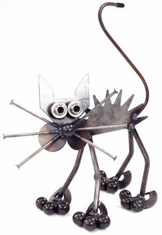 metal yard art ideas | Metal Yard Art: Yardbirds Junkyard Cats