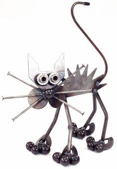 metal yard art ideas | Metal Yard Art: Yardbirds Junkyard Cats