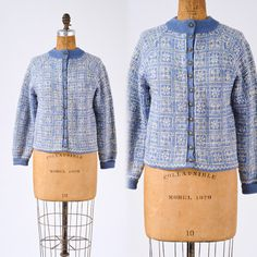 Blue Ski Sweater  Vintage Paul Mage Hand Knit by missfarfalla, $58.00