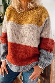 Casual Color Block Ribbed Knitted Sweater – rebecy Fall Sweaters, Casual Sweaters, Cute Sweaters, Long Sweaters, Sweaters For Women, Oversized Sweaters, Sweater Coats, Ribbed Sweater, Vintage Sweaters