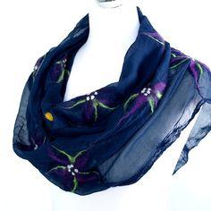 Nunofelt shawl blue flower elegant fashion by ArtMode on Etsy, $79.00
