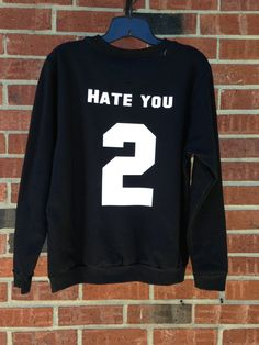 Hate You 2 Hate You Too Black Jersey Baseball by AandADesignsss