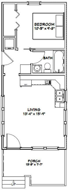 14x32 Tiny House -- #14X32H1T -- 447 sq ft - Excellent Floor Plans #containerhome #shippingcontainer