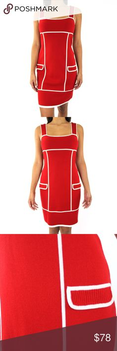 """DVF 60s Mod Style Knit Bodycon Sleeveless Dress Brand: Diane Von Furstenberg Made in China Material: 100% Cotton Color: Red Stretch Fabric (Hugs your shape) Super Comfortable Very Hip and stylish  Condition Brand New, Never Worn  Measurements Size: Small Bust/Chest (seam to seam): 15"""" Length (neck seam to bottom seam): 28"""" Straps Length: 6"""" Waist: 14.5"""" Hip (seam to seam):17.5"""" Diane von Furstenberg Dresses Mini"""