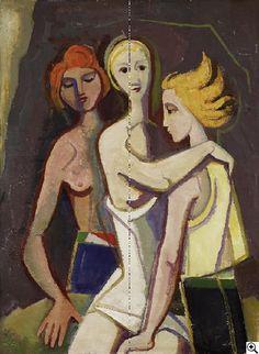 'Vor der Nacht (1950) by German painter Karl Hofer (1878-1955). Oil on canvas, 106 x 80 cm. via Van Ham