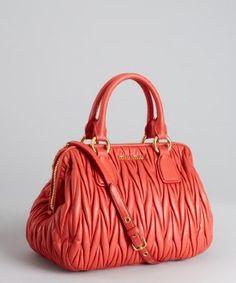 Miu Miu : papaya gathered leather shoulder bag