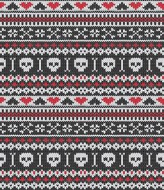 possible fair isle crochet pattern? Fair Isle Knitting Patterns, Fair Isle Pattern, Knitting Charts, Knitting Stitches, Crochet Patterns, Moose Skull, Fair Isle Chart, Crochet Skull, Fair Isles