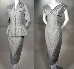 ORIGINAL LILLI ANN - 1950's VINTAGE NEW LOOK COCKTAIL DRESS SUIT - PINCHED WAIST - RHINESTONE ACCENTS - AVAILABLE FOR SALE AT RPVINTAGE.COM