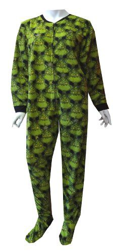I love this! Dr Seuss Wicked Grinch Onesie Footie Pajama for women