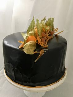 Cake with Chocolate Mirrorglace and Physalis Food And Drink, Chocolate, Cake, Desserts, Pies, Tailgate Desserts, Deserts, Kuchen, Chocolates