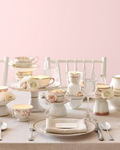 Tea Cup Centerpieces - A Tea Party to make the Hatter Mad with Envy! A beautiful use of grandma's china or tea cup collection. If not for wedding, family bridal shower might be the perfect touch. Bride Shower, Tea Party Bridal Shower, Bridal Luncheon, Wedding Cups, Wedding Day, Diy Wedding, Free Wedding, Wedding Things, Garden Wedding
