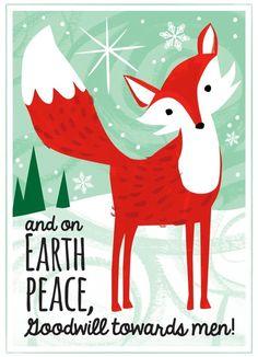 Fox Christmas Card or Holiday Framed Art © Kristen Cavallo ...