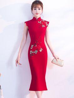 4a3cf2b248fb Wine Red Tea Length Qipao   Cheongsam Wedding Dress. Abiti Da Sposa Rossi