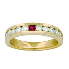 Channel Set Round Diamond and Ruby Ring from Brilliant Earth