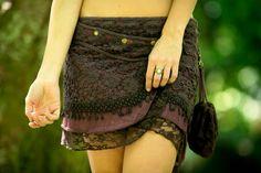 Yara Skirt (Brown) - Festival Gypsy Bohemian Skirt Hippie Lace Crochet Midi Knee Goa Ethnic Nomadic Rave psytrance with pocket
