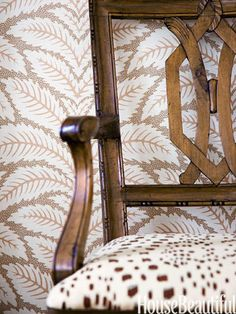 Brunschwig & Fils' Talavera adds character to the master bedroom walls.
