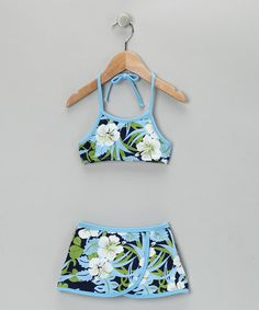 Take a look at this Makena Navy Hibiscus Skirted Bikini - Girls by Makena Surf Wear on #zulily today!