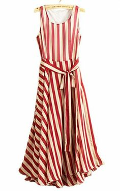 LOVE... Red White Striped Sleeveless Belt Chiffon Dress pictures