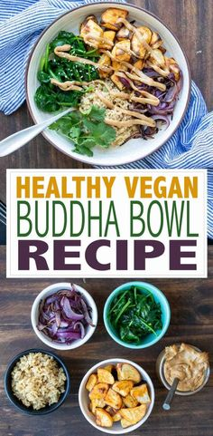 So many options when making a healthy Buddha bowl. Fill it with greens, roasted sweet potatoes, crispy chickpeas then drizzle on sauce for meal perfection! #healthyveganrecipes #veganbowls #ad Vegan Dinner Recipes, Healthy Diet Recipes, Delicious Vegan Recipes, Cooking Recipes, Vegan Gluten Free Desserts, Vegan Food, Healthy Snacks, Vegetarian Recipes, Tasty