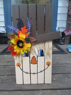 "Wooden scarecrow with wall hanger 18"" high made from pallet wood."