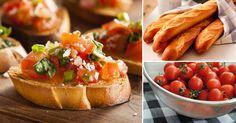 Brusqueta mediterránea. Necesitarás: - Tomates cherry - Aceite de Oliva - Vinagre Balsámico - Frambuesas (puedes obviarlas o bien reemplazarlas como lo indica más adelante la receta) - Queso feta (o mozzarella) - Cebolla de verdeo - Cilantro - Sal - Baguette